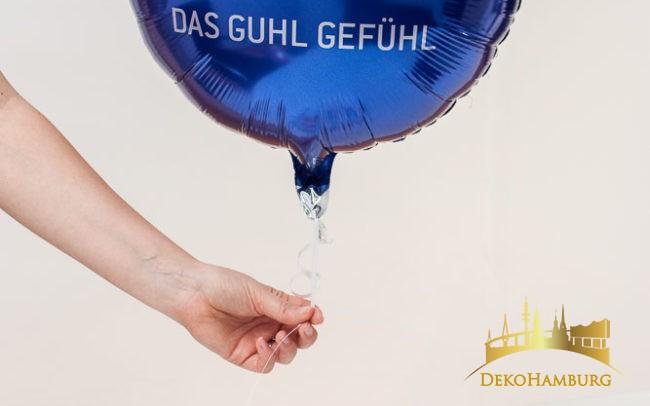 Bedruckter Folienballon mit Guhl Logo