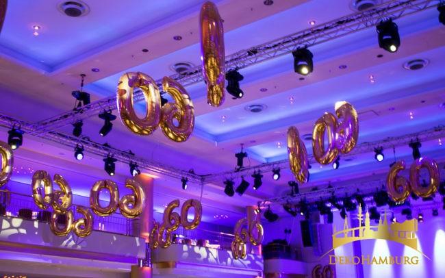 schwebende Zahlen als Partydekoration
