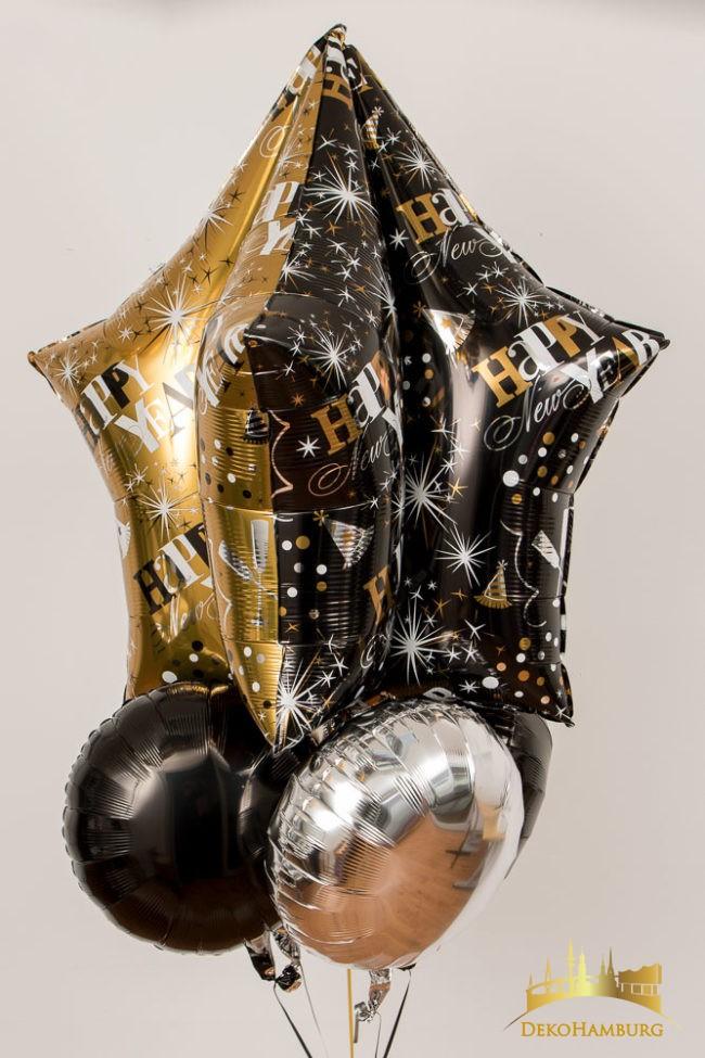 Ballonstrauss Stern schwarz-silber