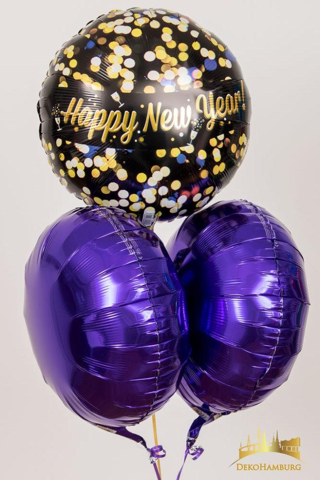 Happy New Year Ballon Strauß lila