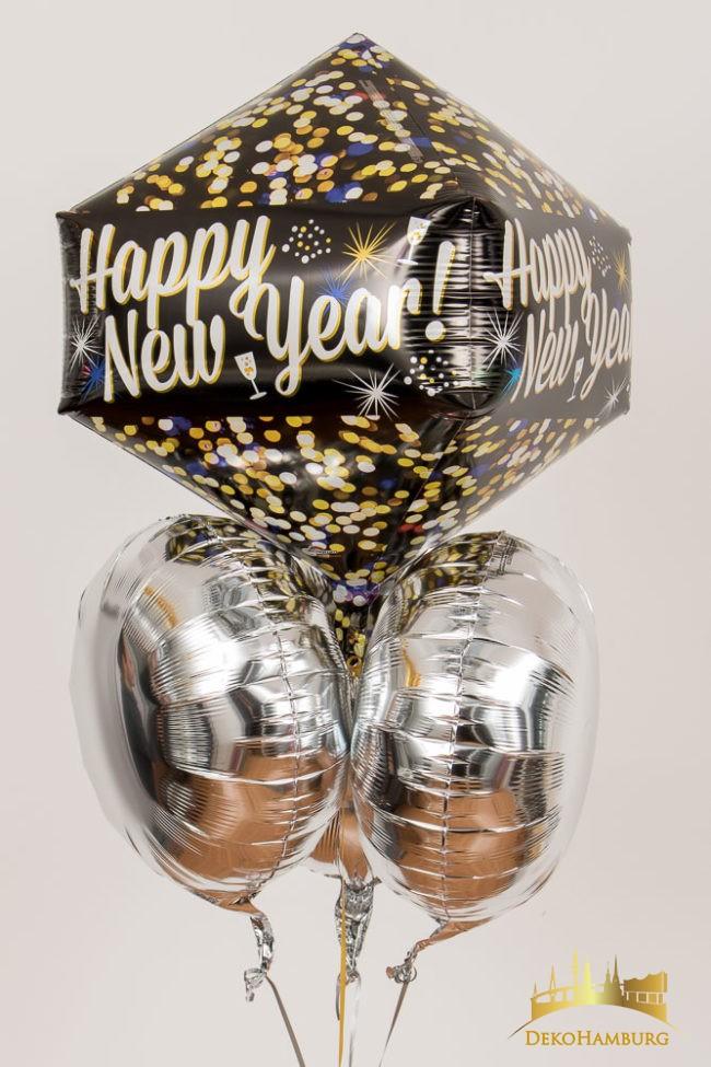 Silvester Dekoration Ballonstrauss silber