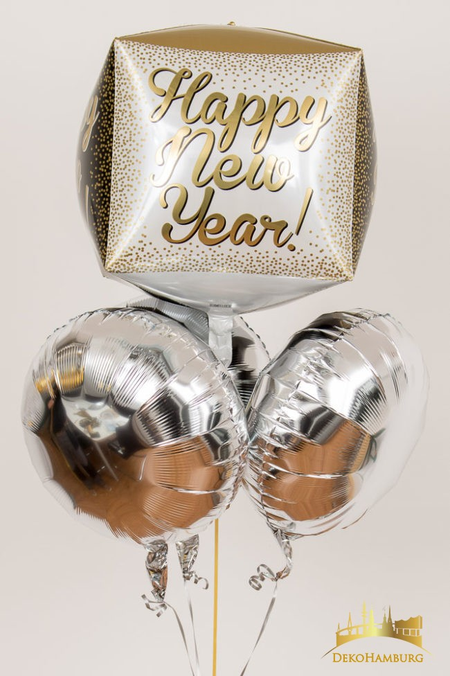Happy New Year Ballonstrauss silber