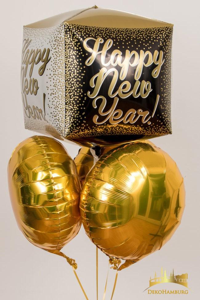 Happy New Year Würfelballonstrauß gold