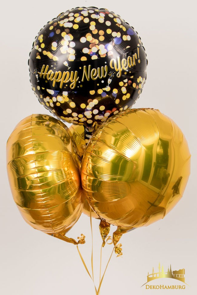 Ballonstrauss in gold für Silvester