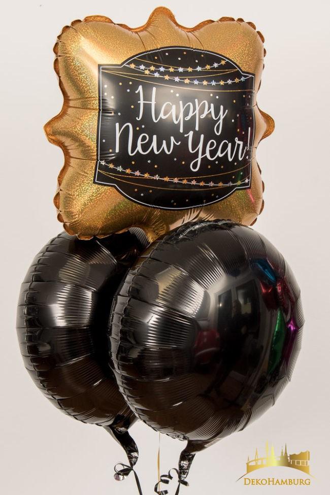 Happy New Year Ballonstrauss goldene Ballons