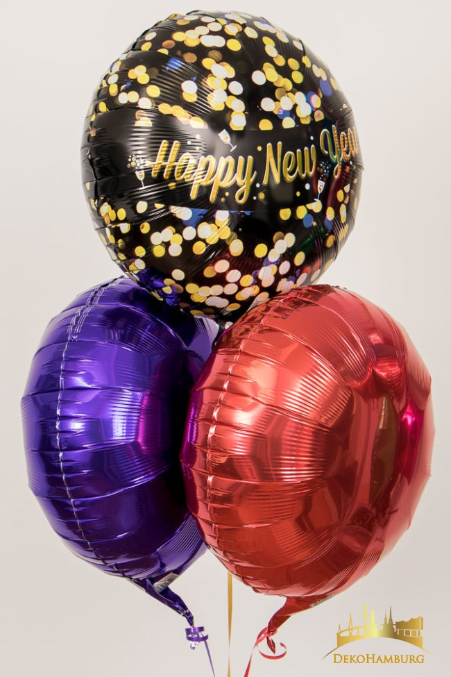 Happy New Year Ballonstrauss lila rot