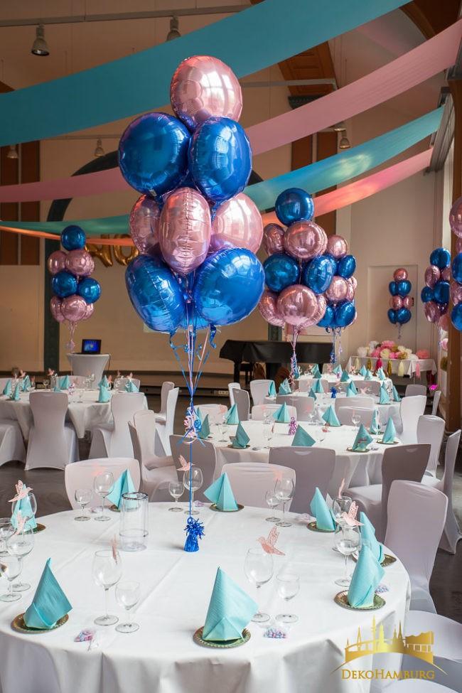 Ballonsträuße in blau rosa für Bat Mitzwa
